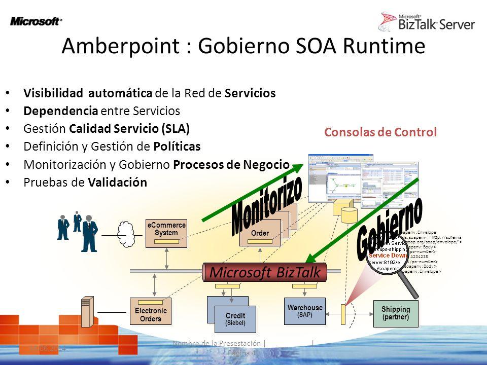 Amberpoint : Gobierno SOA Runtime Visibilidad automática de la Red de Servicios Dependencia entre Servicios Gestión Calidad Servicio (SLA) Definición