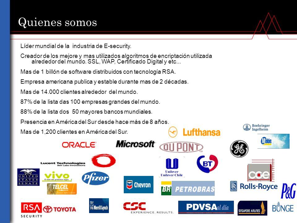 Quienes somos Líder mundial de la industria de E-security.