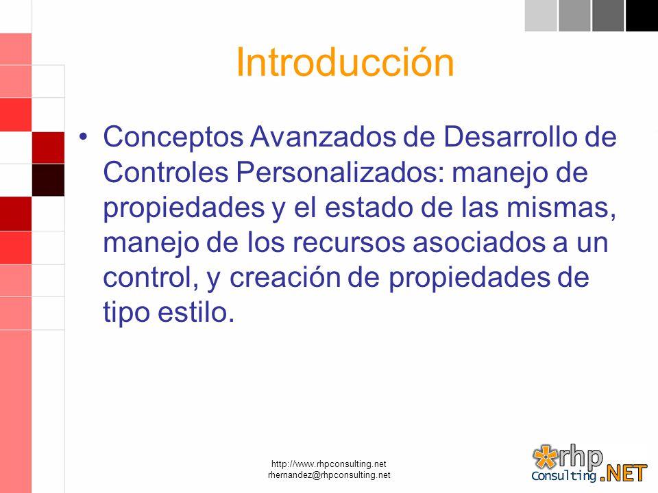 http://www.rhpconsulting.net rhernandez@rhpconsulting.net Introducción Conceptos Avanzados de Desarrollo de Controles Personalizados: manejo de propiedades y el estado de las mismas, manejo de los recursos asociados a un control, y creación de propiedades de tipo estilo.