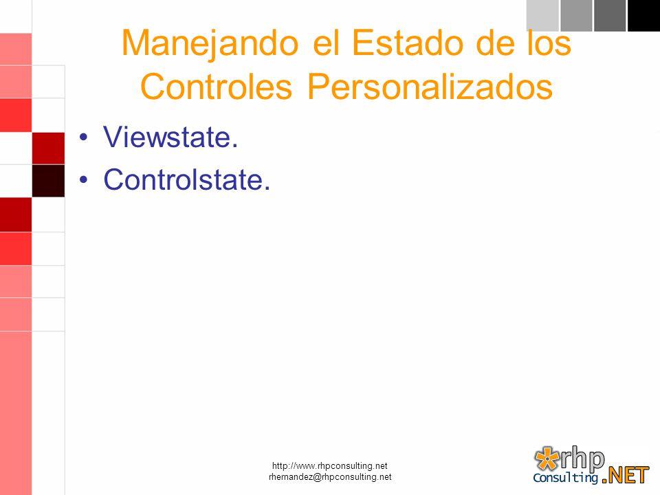 http://www.rhpconsulting.net rhernandez@rhpconsulting.net Manejando el Estado de los Controles Personalizados Viewstate.