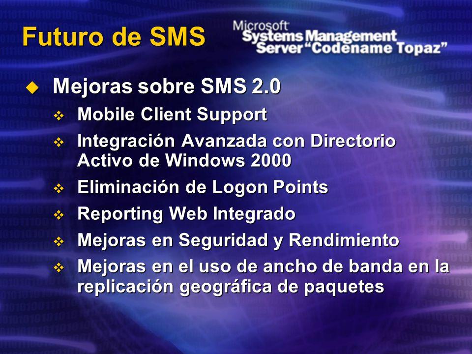 Futuro de SMS Mejoras sobre SMS 2.0 Mejoras sobre SMS 2.0 Mobile Client Support Mobile Client Support Integración Avanzada con Directorio Activo de Windows 2000 Integración Avanzada con Directorio Activo de Windows 2000 Eliminación de Logon Points Eliminación de Logon Points Reporting Web Integrado Reporting Web Integrado Mejoras en Seguridad y Rendimiento Mejoras en Seguridad y Rendimiento Mejoras en el uso de ancho de banda en la replicación geográfica de paquetes Mejoras en el uso de ancho de banda en la replicación geográfica de paquetes