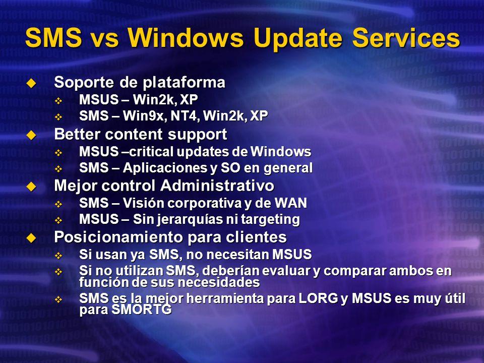 SMS vs Windows Update Services Soporte de plataforma Soporte de plataforma MSUS – Win2k, XP MSUS – Win2k, XP SMS – Win9x, NT4, Win2k, XP SMS – Win9x, NT4, Win2k, XP Better content support Better content support MSUS –critical updates de Windows MSUS –critical updates de Windows SMS – Aplicaciones y SO en general SMS – Aplicaciones y SO en general Mejor control Administrativo Mejor control Administrativo SMS – Visión corporativa y de WAN SMS – Visión corporativa y de WAN MSUS – Sin jerarquías ni targeting MSUS – Sin jerarquías ni targeting Posicionamiento para clientes Posicionamiento para clientes Si usan ya SMS, no necesitan MSUS Si usan ya SMS, no necesitan MSUS Si no utilizan SMS, deberían evaluar y comparar ambos en función de sus necesidades Si no utilizan SMS, deberían evaluar y comparar ambos en función de sus necesidades SMS es la mejor herramienta para LORG y MSUS es muy útil para SMORTG SMS es la mejor herramienta para LORG y MSUS es muy útil para SMORTG