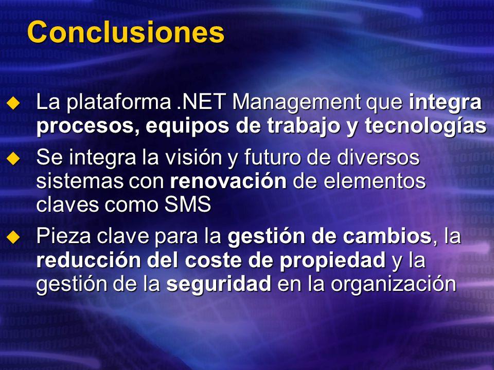 Conclusiones La plataforma.NET Management que integra procesos, equipos de trabajo y tecnologías La plataforma.NET Management que integra procesos, equipos de trabajo y tecnologías Se integra la visión y futuro de diversos sistemas con renovación de elementos claves como SMS Se integra la visión y futuro de diversos sistemas con renovación de elementos claves como SMS Pieza clave para la gestión de cambios, la reducción del coste de propiedad y la gestión de la seguridad en la organización Pieza clave para la gestión de cambios, la reducción del coste de propiedad y la gestión de la seguridad en la organización
