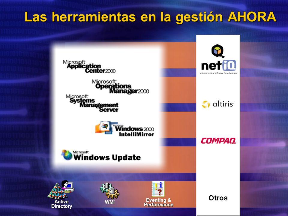 Las herramientas en la gestión AHORA Active Directory Eventing & Performance WMI Otros