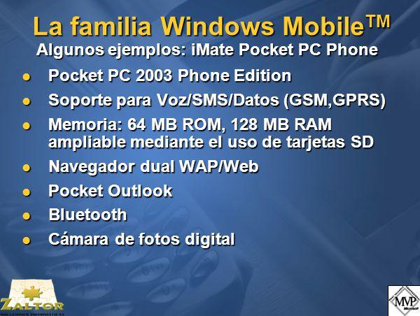Pocket PC 2003 Phone Edition Pocket PC 2003 Phone Edition Soporte para Voz/SMS/Datos (GSM,GPRS) Soporte para Voz/SMS/Datos (GSM,GPRS) Memoria: 64 MB R