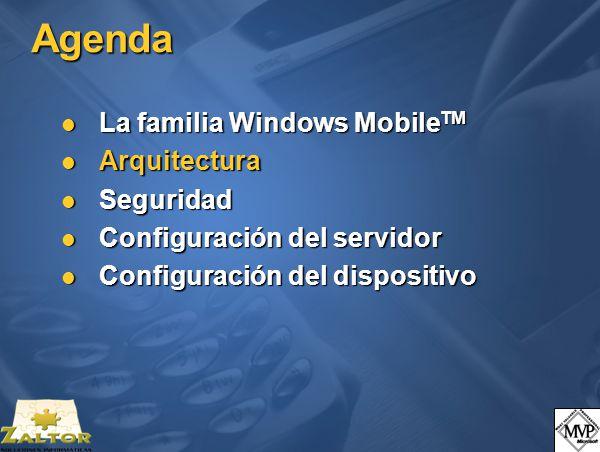 Agenda La familia Windows Mobile TM La familia Windows Mobile TM Arquitectura Arquitectura Seguridad Seguridad Configuración del servidor Configuración del servidor Configuración del dispositivo Configuración del dispositivo