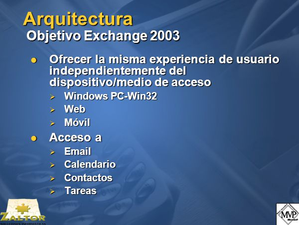 Arquitectura Objetivo Exchange 2003 Ofrecer la misma experiencia de usuario independientemente del dispositivo/medio de acceso Ofrecer la misma experiencia de usuario independientemente del dispositivo/medio de acceso Windows PC-Win32 Windows PC-Win32 Web Web Móvil Móvil Acceso a Acceso a Email Email Calendario Calendario Contactos Contactos Tareas Tareas