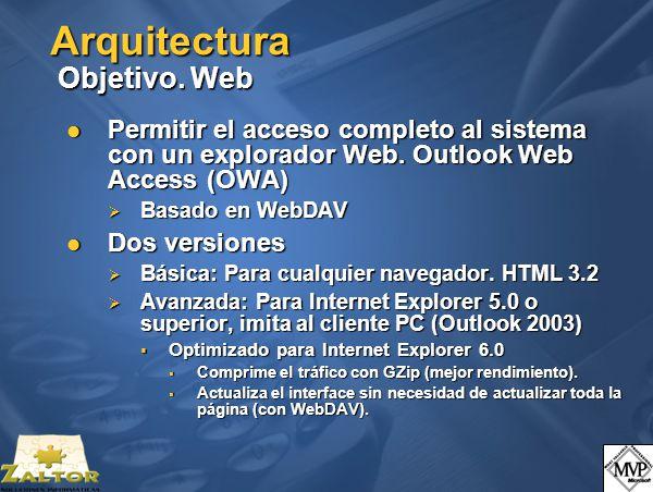Arquitectura Objetivo. Web Permitir el acceso completo al sistema con un explorador Web.