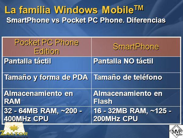 La familia Windows Mobile TM SmartPhone vs Pocket PC Phone.
