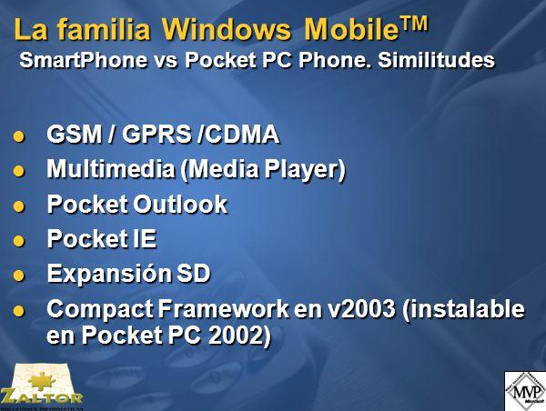 La familia Windows Mobile TM Algunos ejemplos: HP iPAQ Pocket PC h5550 WLAN 802.11b Integrado WLAN 802.11b Integrado Bluetooth Bluetooth Lector de Huella Lector de Huella Slot SD (SDIO) Slot SD (SDIO) 128 MB RAM, 17 MB iPAQ File Store 128 MB RAM, 17 MB iPAQ File Store Bater í a removible Bater í a removible Pantalla de 3.8 transflectiva TFT con 64K colores Pantalla de 3.8 transflectiva TFT con 64K colores Microsoft Pocket PC 2003 Microsoft Pocket PC 2003 Software de VPN y carpeta de encriptaci ó n de datos Software de VPN y carpeta de encriptaci ó n de datos
