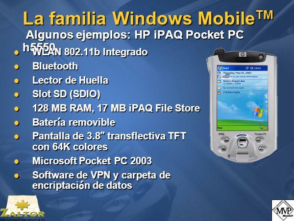 La familia Windows Mobile TM Algunos ejemplos: Motorola SmartPhone MPx200