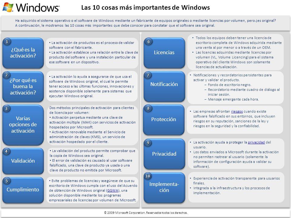 Las 10 cosas más importantes de Windows ¿Qué es la activación? ¿Por qué es buena la activación? La activación de productos es el proceso de validar so