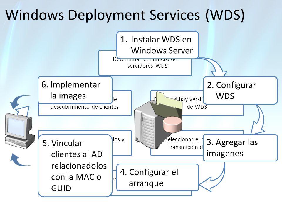 Windows Deployment Services (WDS) Determinar el numero de servidores WDS Determinar tolerancia a fallos y consistencia Determinar losrequerimientos de