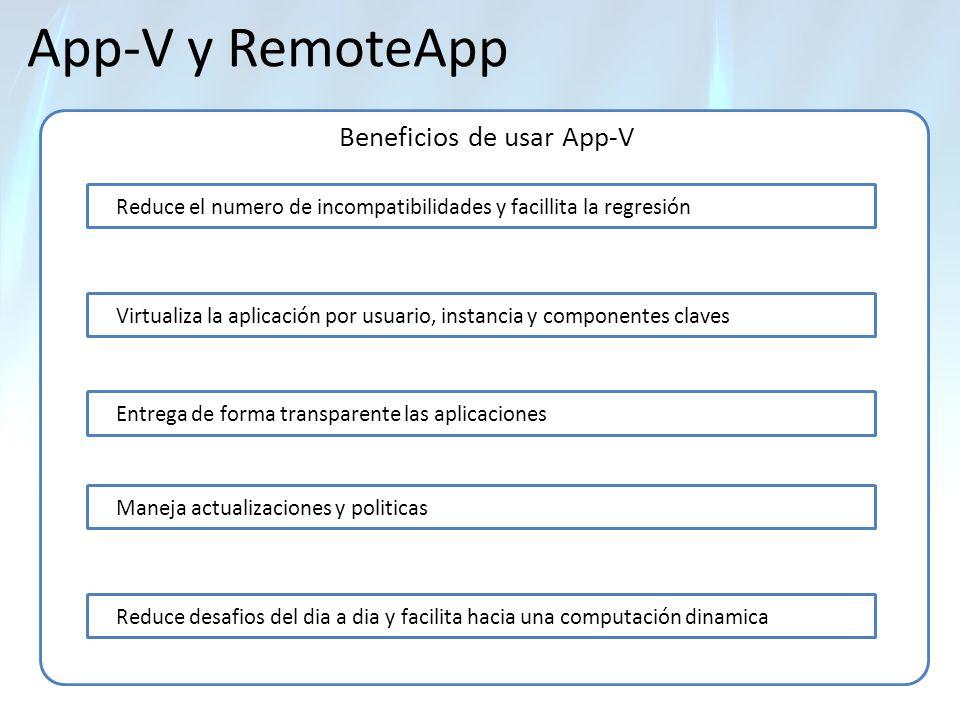 App-V y RemoteApp Beneficios de usar App-V Reduce el numero de incompatibilidades y facillita la regresión Virtualiza la aplicación por usuario, insta