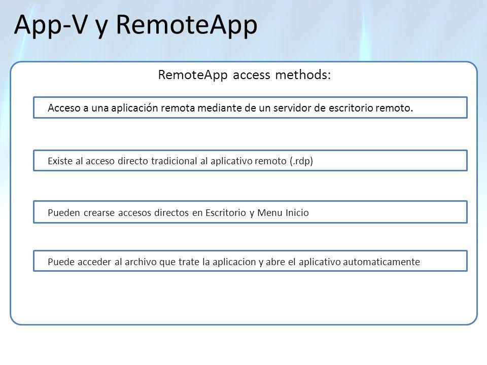 App-V y RemoteApp RemoteApp access methods: Acceso a una aplicación remota mediante de un servidor de escritorio remoto. Existe al acceso directo trad