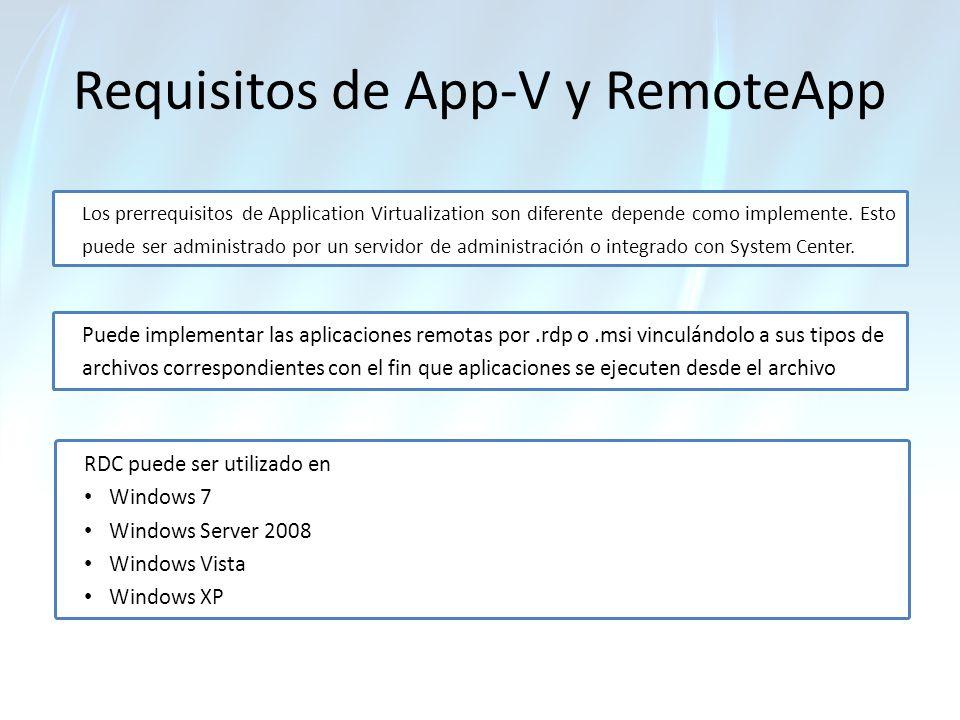 Requisitos de App-V y RemoteApp Los prerrequisitos de Application Virtualization son diferente depende como implemente. Esto puede ser administrado po