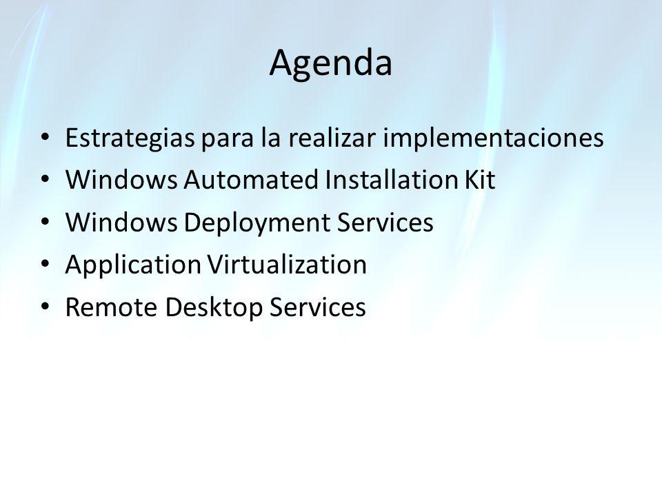 Agenda Estrategias para la realizar implementaciones Windows Automated Installation Kit Windows Deployment Services Application Virtualization Remote