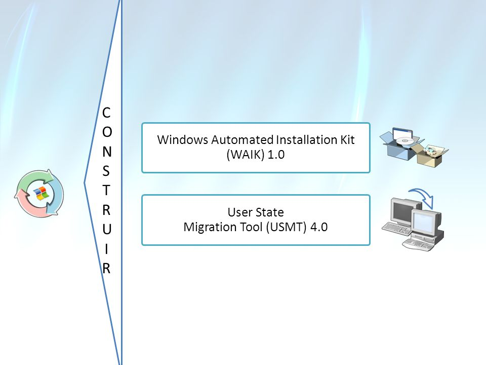 CONSTRUIRCONSTRUIR Windows Automated Installation Kit (WAIK) 1.0 User State Migration Tool (USMT) 4.0