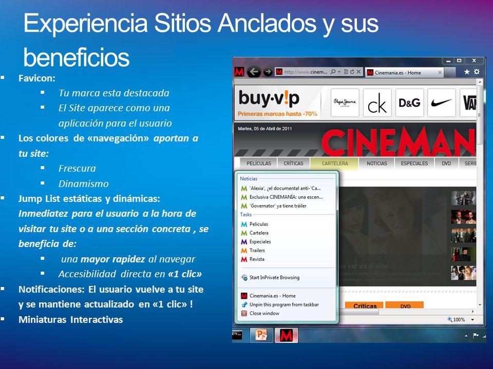 Experiencia Sitios Anclados y sus beneficios Favicon: Tu marca esta destacada El Site aparece como una aplicación para el usuario Los colores de «nave