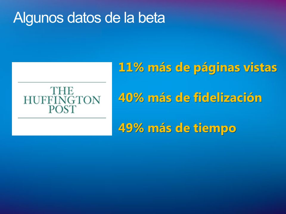Algunos datos de la beta 11% más de páginas vistas 40% más de fidelización 49% más de tiempo