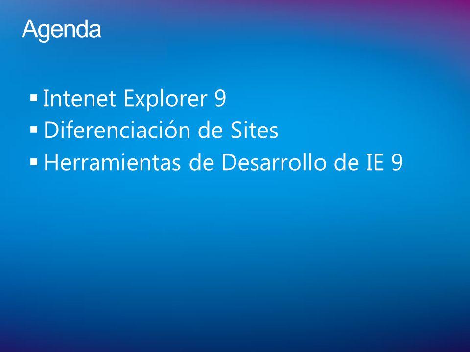 Agenda Intenet Explorer 9 Diferenciación de Sites Herramientas de Desarrollo de IE 9