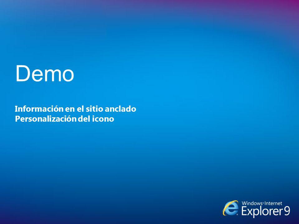Información en el sitio anclado Personalización del icono Demo