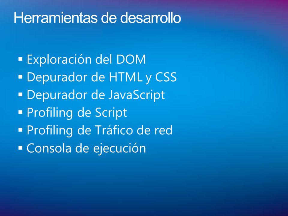 Herramientas de desarrollo Exploración del DOM Depurador de HTML y CSS Depurador de JavaScript Profiling de Script Profiling de Tráfico de red Consola