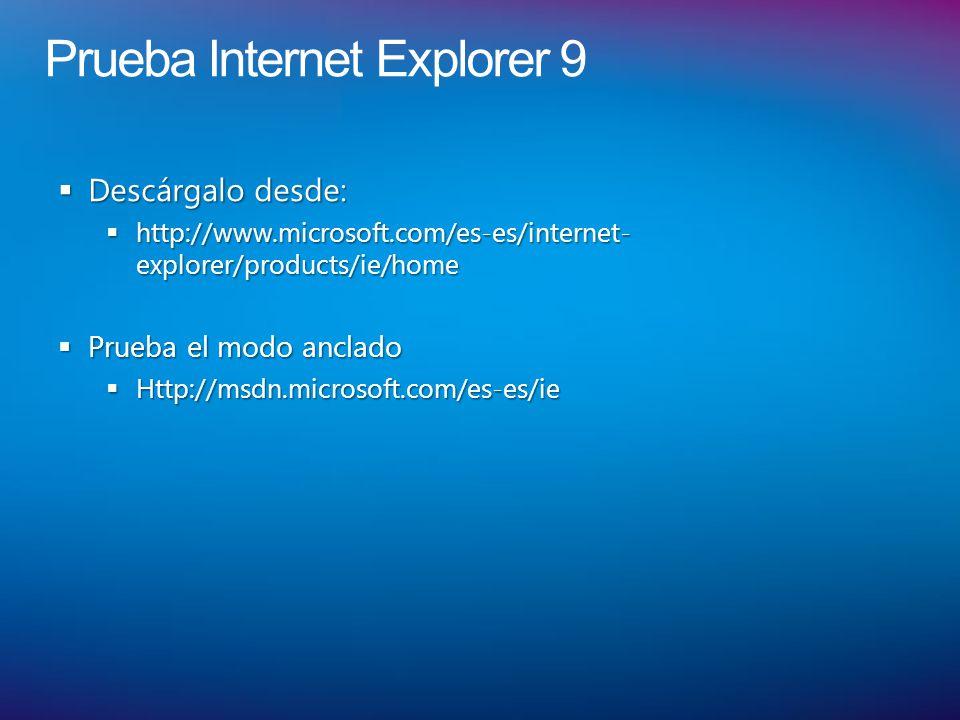 Prueba Internet Explorer 9 Descárgalo desde: Descárgalo desde: http://www.microsoft.com/es-es/internet- explorer/products/ie/home http://www.microsoft