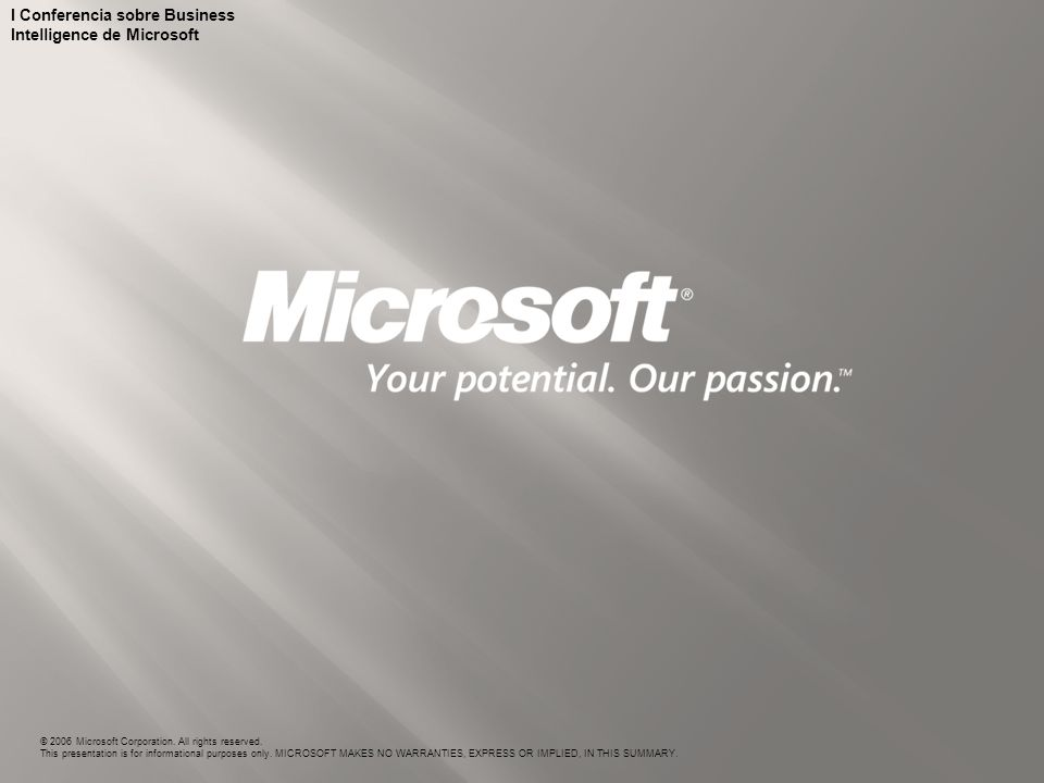 I Conferencia sobre Business Intelligence de Microsoft © 2006 Microsoft Corporation. All rights reserved. This presentation is for informational purpo