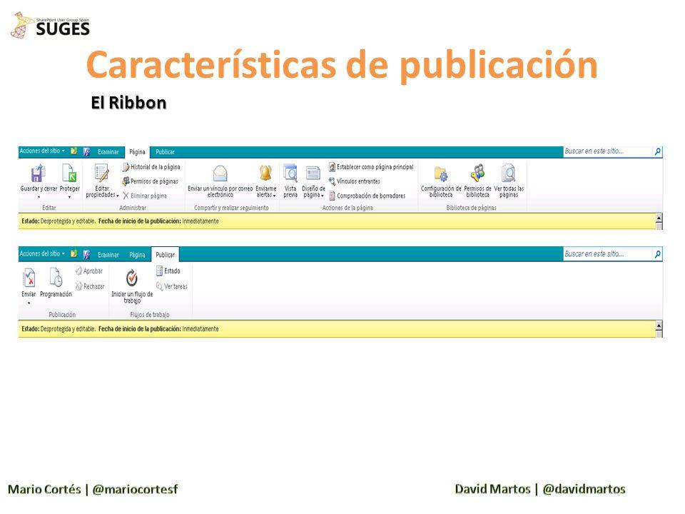 Características de publicación El Ribbon