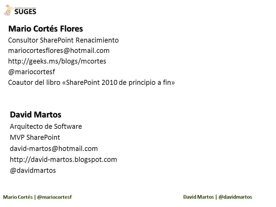 Mario Cortés Flores Consultor SharePoint Renacimiento mariocortesflores@hotmail.com http://geeks.ms/blogs/mcortes @mariocortesf Coautor del libro «Sha