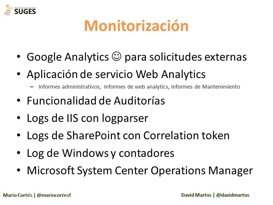 Monitorización Google Analytics para solicitudes externas Aplicación de servicio Web Analytics – Informes administrativos, Informes de web analytics,