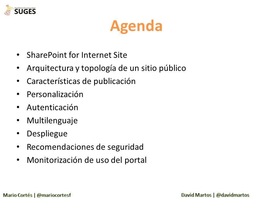 Agenda SharePoint for Internet Site Arquitectura y topología de un sitio público Características de publicación Personalización Autenticación Multilen