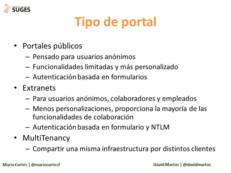 Tipo de portal Portales públicos – Pensado para usuarios anónimos – Funcionalidades limitadas y más personalizado – Autenticación basada en formulario