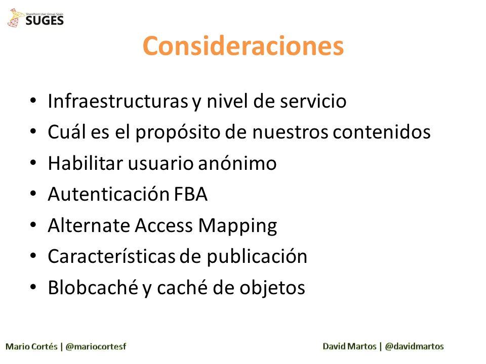 Consideraciones Infraestructuras y nivel de servicio Cuál es el propósito de nuestros contenidos Habilitar usuario anónimo Autenticación FBA Alternate