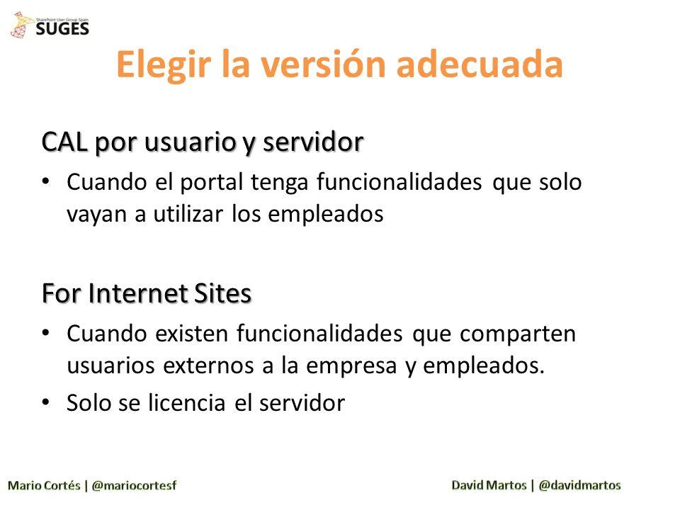 Elegir la versión adecuada CAL por usuario y servidor Cuando el portal tenga funcionalidades que solo vayan a utilizar los empleados For Internet Site