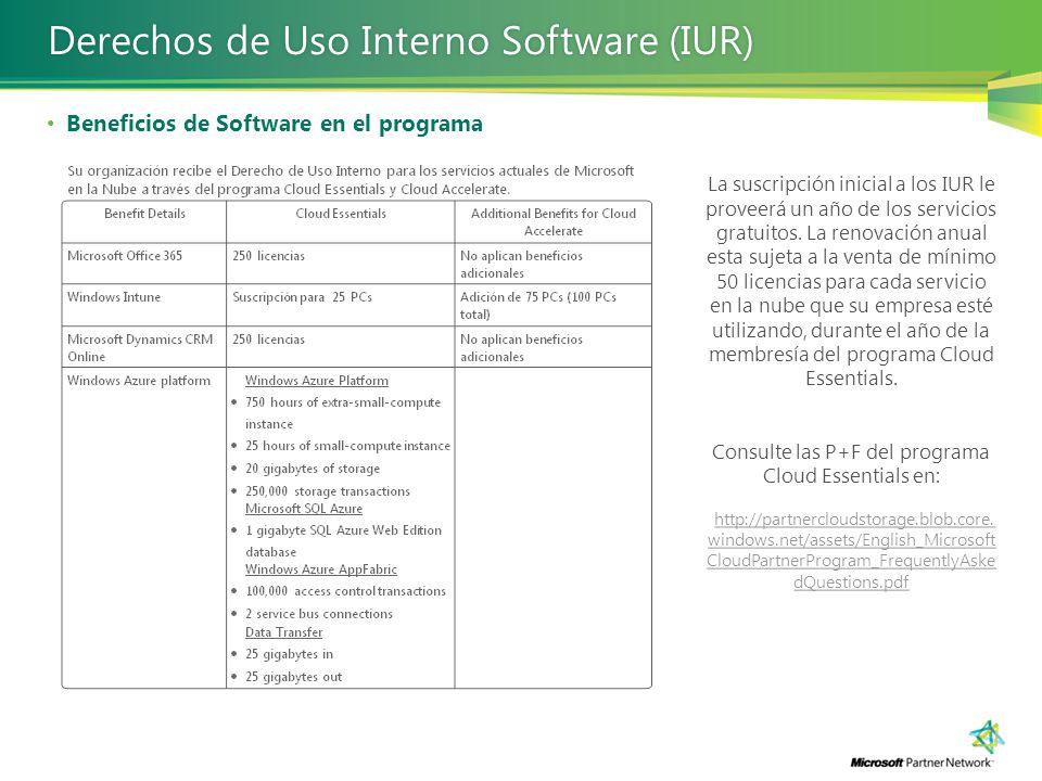 Beneficios de Software en el programa Derechos de Uso Interno Software (IUR)Derechos de Uso Interno Software (IUR) La suscripción inicial a los IUR le proveerá un año de los servicios gratuitos.