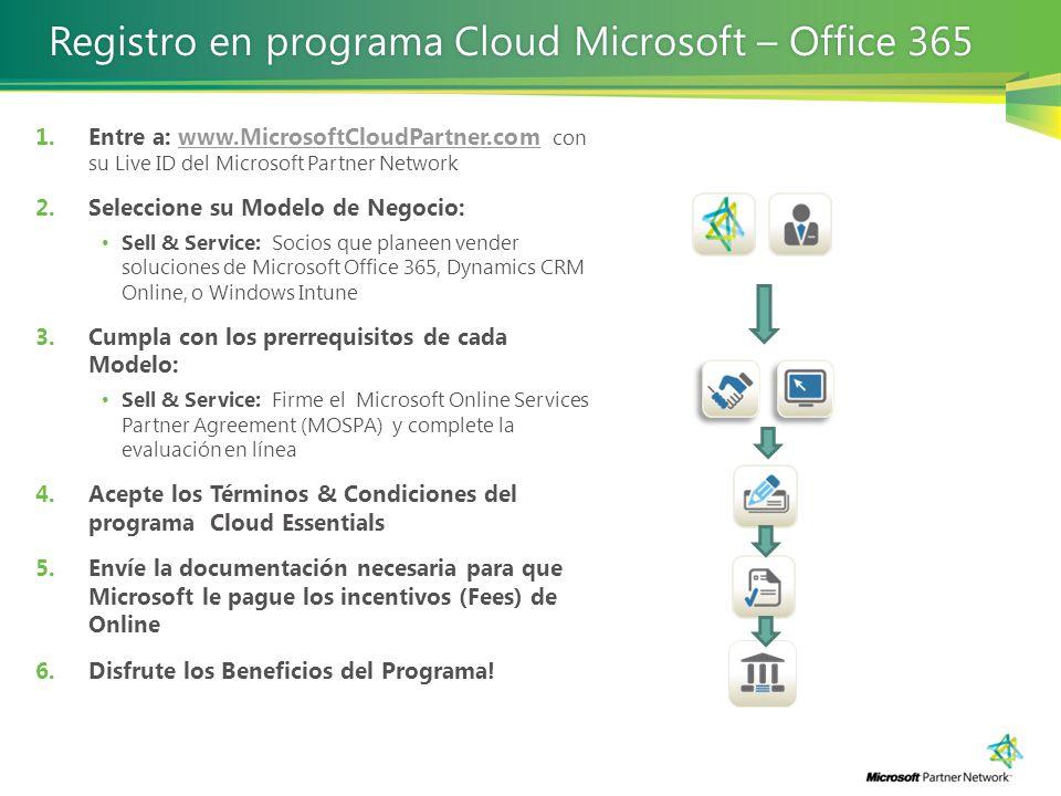 1.Entre a: www.MicrosoftCloudPartner.com con su Live ID del Microsoft Partner Networkwww.MicrosoftCloudPartner.com 2.Seleccione su Modelo de Negocio: Sell & Service: Socios que planeen vender soluciones de Microsoft Office 365, Dynamics CRM Online, o Windows Intune 3.Cumpla con los prerrequisitos de cada Modelo: Sell & Service: Firme el Microsoft Online Services Partner Agreement (MOSPA) y complete la evaluación en línea 4.Acepte los Términos & Condiciones del programa Cloud Essentials 5.Envíe la documentación necesaria para que Microsoft le pague los incentivos (Fees) de Online 6.Disfrute los Beneficios del Programa.