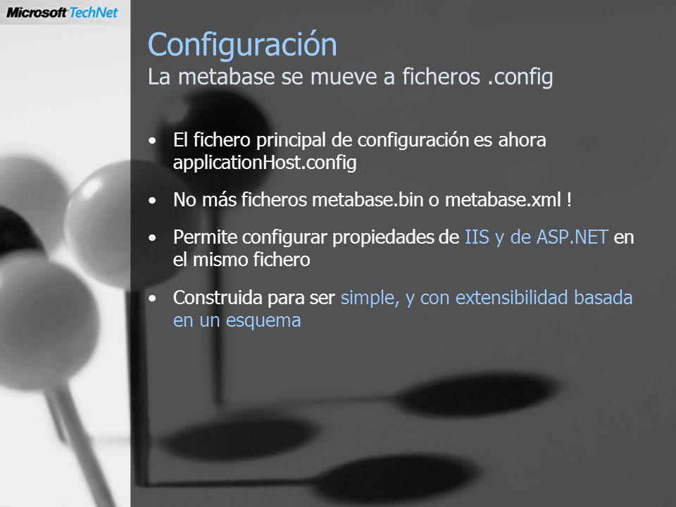 Configuración La metabase se mueve a ficheros.config El fichero principal de configuración es ahora applicationHost.config No más ficheros metabase.bi