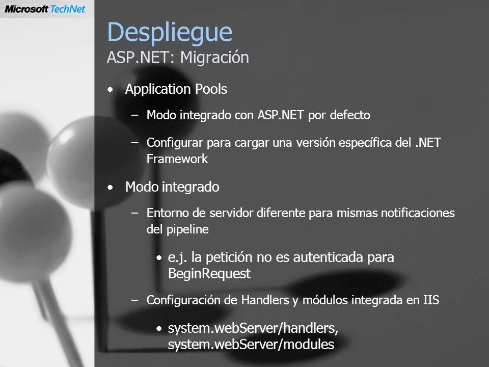 Despliegue ASP.NET: Migración Application Pools –Modo integrado con ASP.NET por defecto –Configurar para cargar una versión específica del.NET Framewo