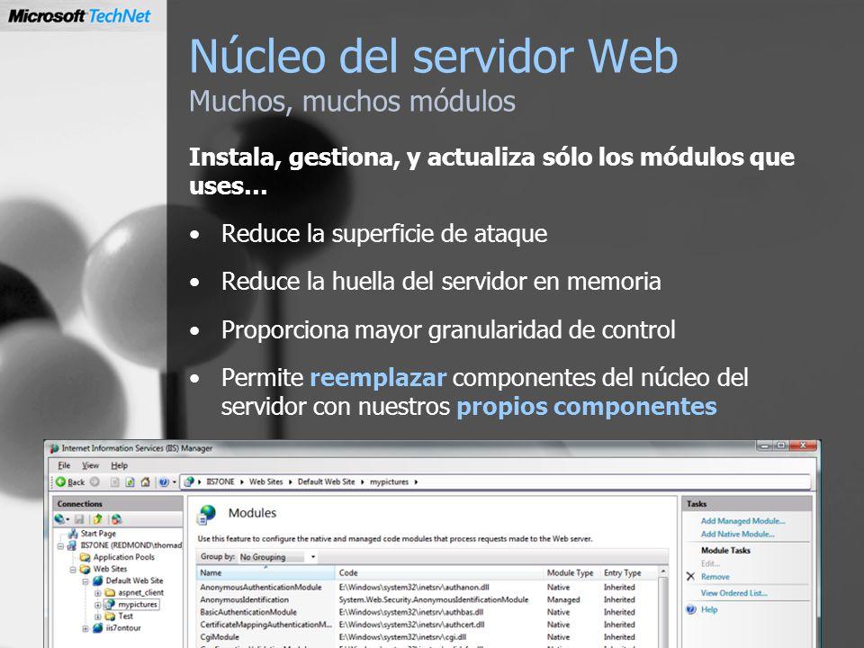 Núcleo del servidor Web Muchos, muchos módulos Instala, gestiona, y actualiza sólo los módulos que uses… Reduce la superficie de ataque Reduce la huel