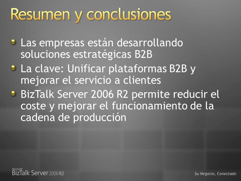 Las empresas están desarrollando soluciones estratégicas B2B La clave: Unificar plataformas B2B y mejorar el servicio a clientes BizTalk Server 2006 R