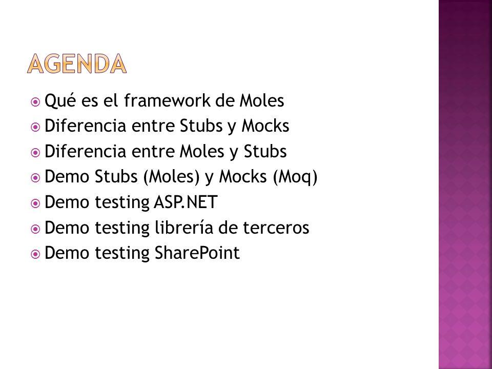 Qué es el framework de Moles Diferencia entre Stubs y Mocks Diferencia entre Moles y Stubs Demo Stubs (Moles) y Mocks (Moq) Demo testing ASP.NET Demo testing librería de terceros Demo testing SharePoint