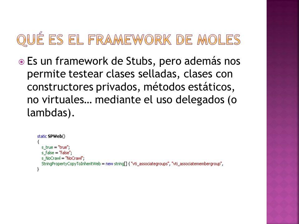 Es un framework de Stubs, pero además nos permite testear clases selladas, clases con constructores privados, métodos estáticos, no virtuales… mediante el uso delegados (o lambdas).