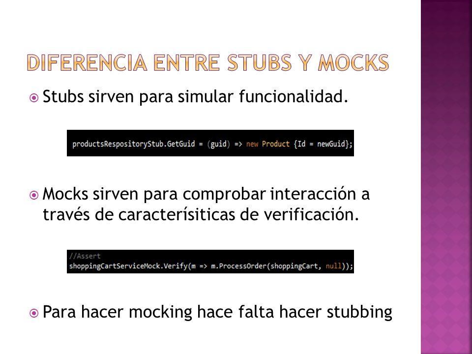 Stubs: Para testear clases que implementan interfaces o clases no selladas con métodos que se pueden sobreescribir (Esto podría hacerse con otros frameworks de mock tales como Moq, RinhoMocks…) Moles: Para testear clases selladas y con métodos estáticos o que no se pueden sobrescribir (Clases que tenga fuertes dependencias).