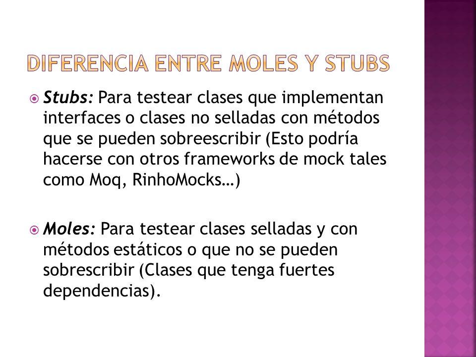 Stubs: Para testear clases que implementan interfaces o clases no selladas con métodos que se pueden sobreescribir (Esto podría hacerse con otros fram