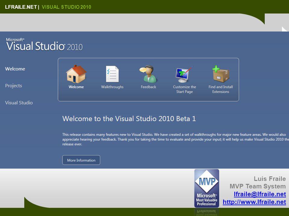 LFRAILE.NET   VISUAL STUDIO 2010 El contexto … 2008 -> Minor release2010 -> Major release !!!!Nuevo Framework: 4.0Mejoras WPF 4, WF 4, WCF, C#, …Cambios a nivel de IDE Mayor facilidad en el desarrollo Mejoras en la navegación por el código Visual Studio Team System …