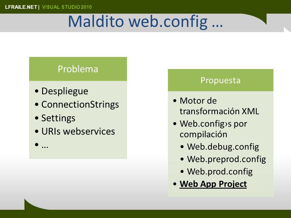 LFRAILE.NET | VISUAL STUDIO 2010 Maldito web.config … Problema Despliegue ConnectionStrings Settings URIs webservices … Propuesta Motor de transformación XML Web.configs por compilación Web.debug.config Web.preprod.config Web.prod.config Web App Project