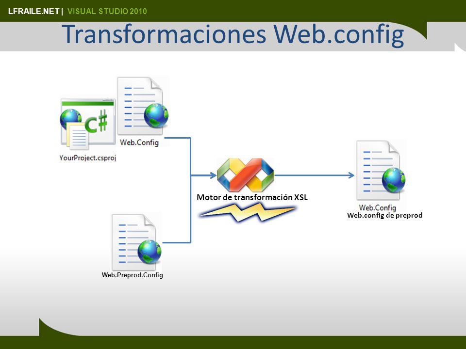 LFRAILE.NET | VISUAL STUDIO 2010 Transformaciones Web.config Web.Preprod.Config Motor de transformación XSL Web.config de preprod