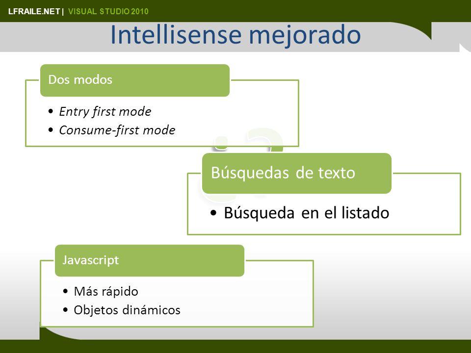 LFRAILE.NET | VISUAL STUDIO 2010 Intellisense mejorado Entry first mode Consume-first mode Dos modos Búsqueda en el listado Búsquedas de texto Más rápido Objetos dinámicos Javascript